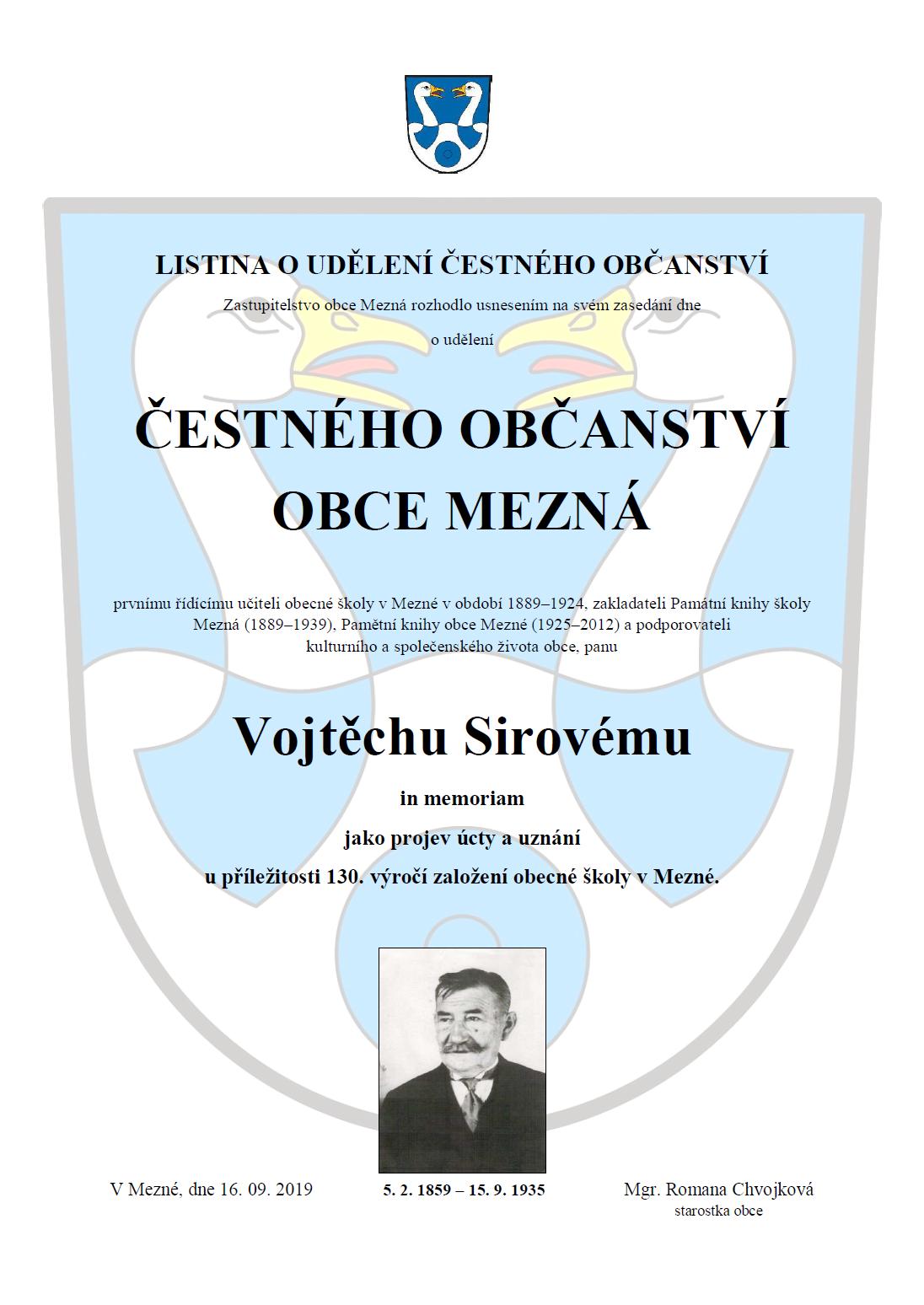 Čestné občanství Vojtěch Sirový, in memoriam